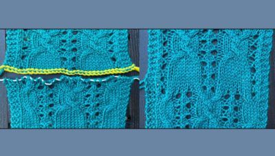 Grafting a lace pattern, before and after.