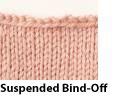Great example of the suspended bind-off knitting technique.