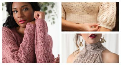 Three allover lace garments: a sweater, a puffy-sleeved top, and a high-neck halter.