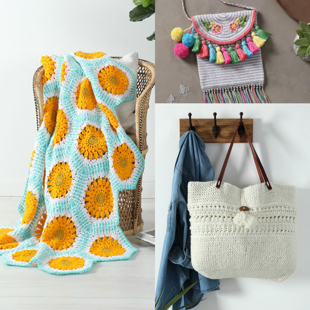 Zinnia Blossoms Afghan,, Jubilee Purse, and Estuary Tote crochet bags