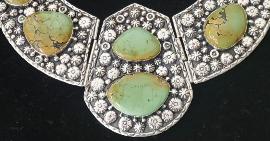 ABOVE: Detail from an extra-large, green turquoise and sterling silver collar by Billy the Kid. You could spot this piece from across the tent at the 2020 Tucson shows; photo: Terri Haag