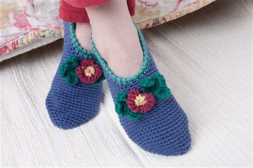 The Comfort Slippers by Sarah Read are worked in a single crochet in the round and can be found in our free Crochet Sock and Slipper Patterns eBook.