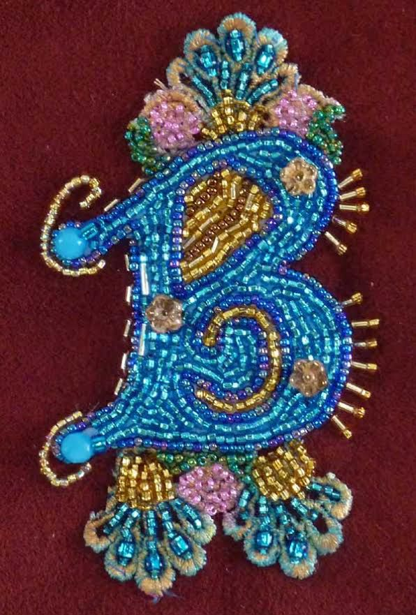 initial B beaded text embroidery