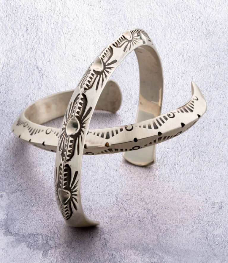 Jig Stamped Silver Cuff by Jeff Fulkerson men's jewelry