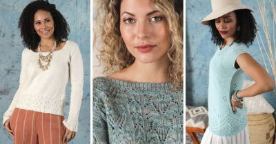 Three projects from Interweave Knits Summer 2021: the Itinerant Pullover, Imperial Gardens Sweater, and Panoramic Top