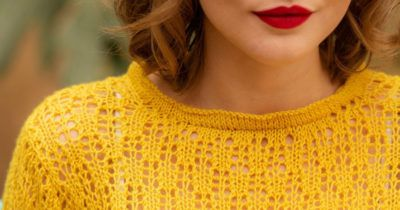 A preview of the Marmoset Pullover, a spring lace knitting pattern.