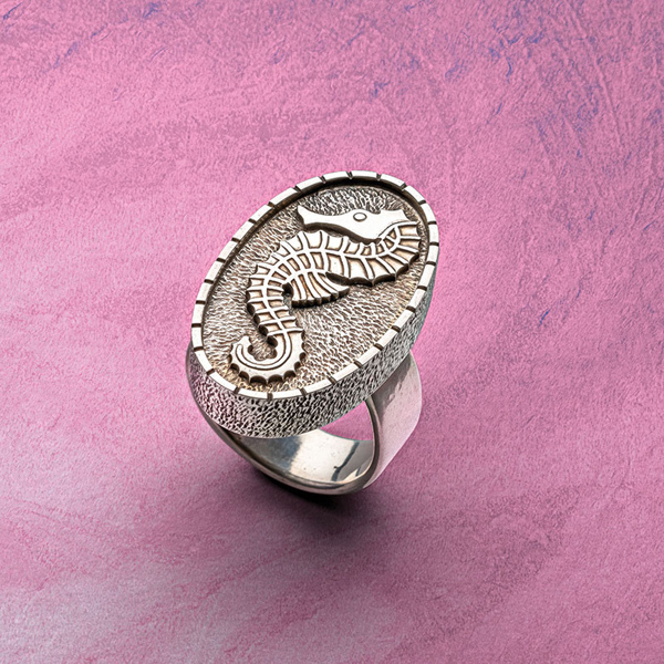 Seahorse Summons Ring by Roger Halas men's jewelry