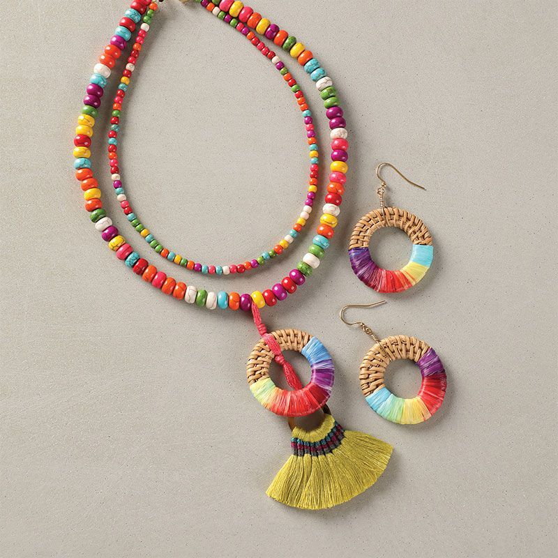 rainbow thread and beaded jewelry necklace and earrings