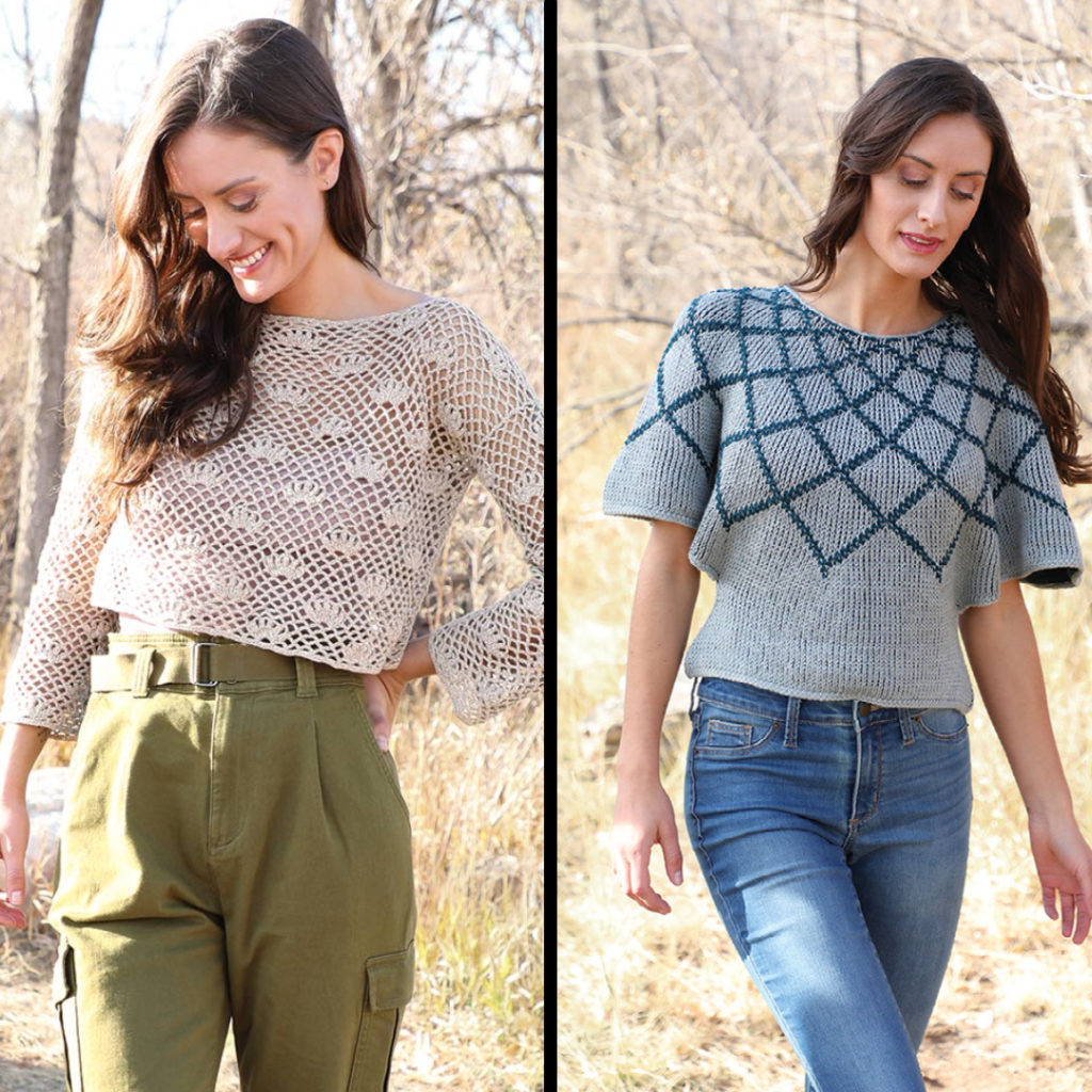 Taking Root Pullover and Thistledown Top crochet sweaters