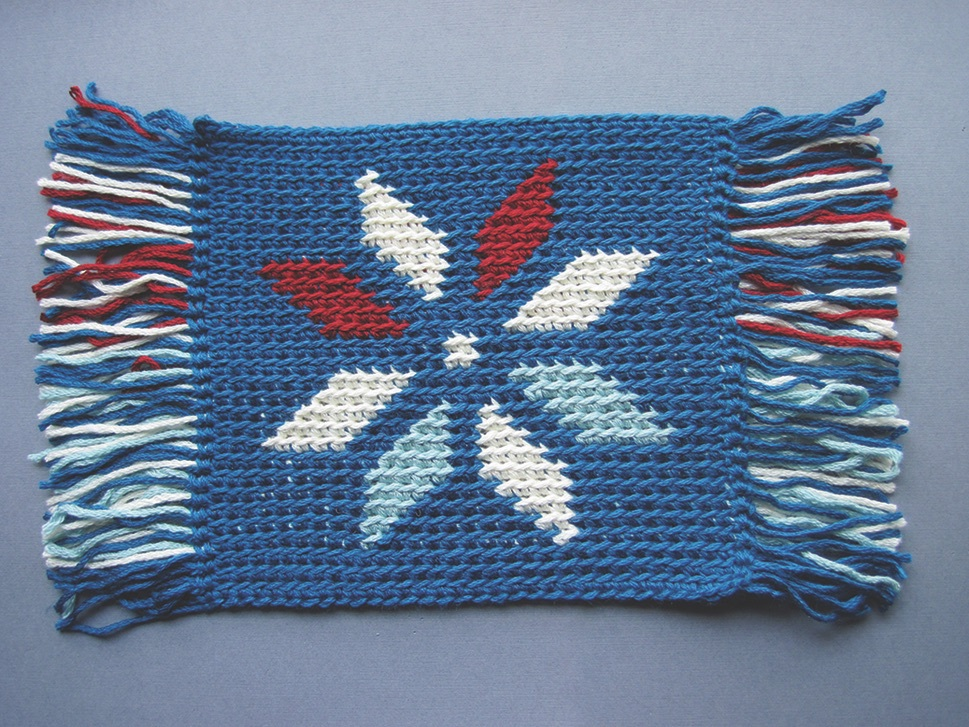 Front of a tapestry colorwork crochet swatch