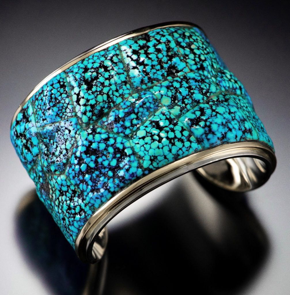 Bruce McKay, cuff bracelet, 2.8″ wide, 2″ tall, 2.4″ deep, 14K white gold, 18K yellow gold, natural Kingman spiderweb turquoise; photo: Dylan Brody jewelry awards