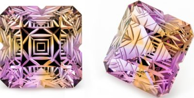 "This pair of fantasy cut ametrines from Hallelujah Junction by Ryan Anderson showcases both the quality of material from this locality and of the faceting and carving (not to mention photography) skills Ryan Anderson possesses. Jim Landon visits the site and reports back in ""Hallelujah!"" in Lapidary Journal Jewelry Artist January/February 2020; photo: Ryan Anderson"