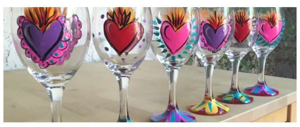 Kathy Cano-Murillo's hand-painted wineglasses heart crown