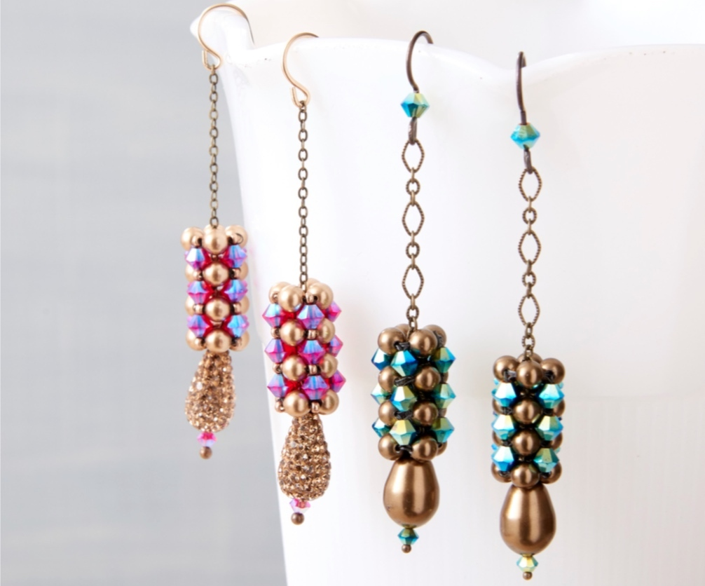 Marcia's CRAW workshop comes with a project pattern for these cubic right-angle weave earrings.