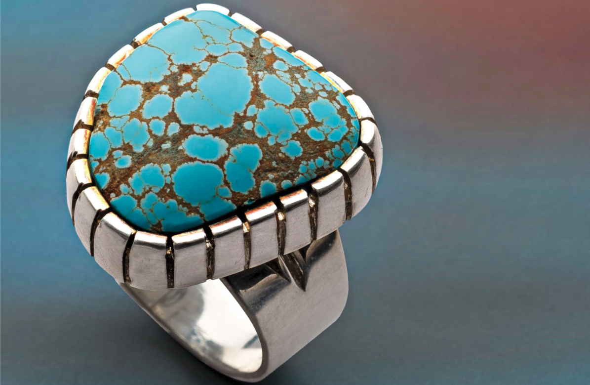Jeff Fulkerson created this ring to show off a new tool he'd discovered; the project appeared in Lapidary Journal Jewelry Artist January/February 2021. Photo: Jim Lawson