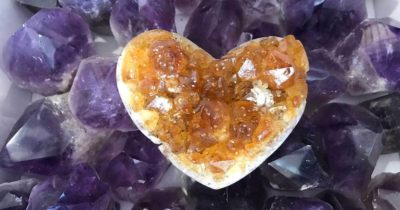 citrine heart and amethyst crystals from Tucson