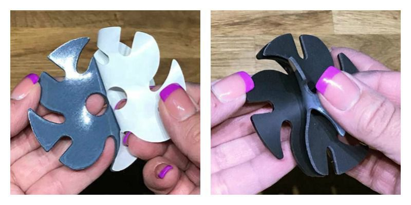 Left: Peel the adhesive backing from a cushion or abrasive. Right: Line up the shape; press the two firmly together.