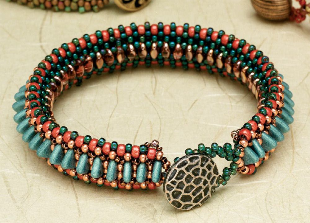 two-hole triangle beads in Line 'em Up Bracelet by Christina Neit, 10 Beaded Projects to Make with CzechMates Triangles