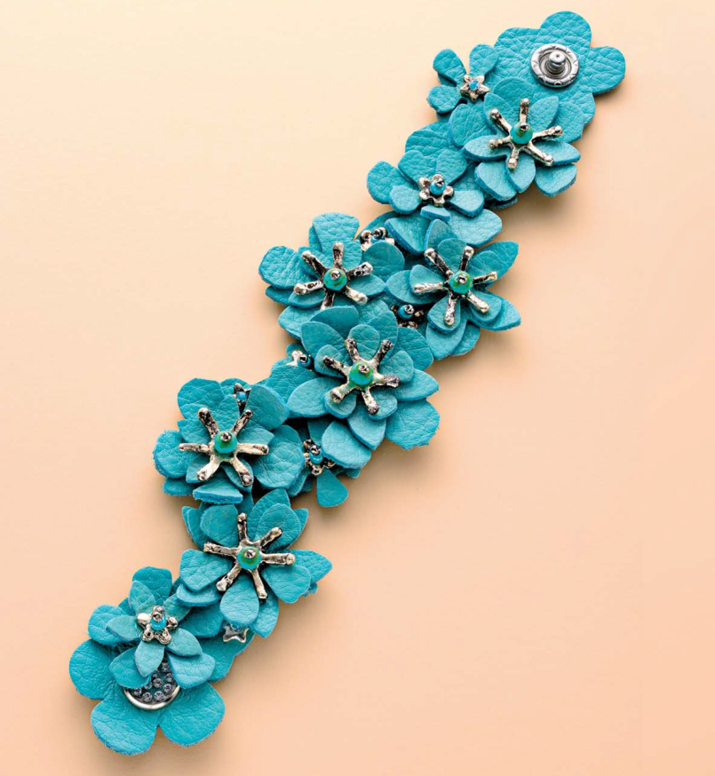 The complete Leather and Metal Clay Blossom bracelet; photo: Jim Lawson