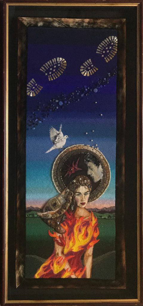 """Young Widow, self portrait, 64-1/2"""" x 31-1/2"""", beads, found objects, thread, canvas, velvet ribbon, bead embroidery. Before my husband died, he made me promise to keep making art. This is the first piece I didn't get to show him. At sundown, I still listen for his work boots; photo: Aldo Rominger"""