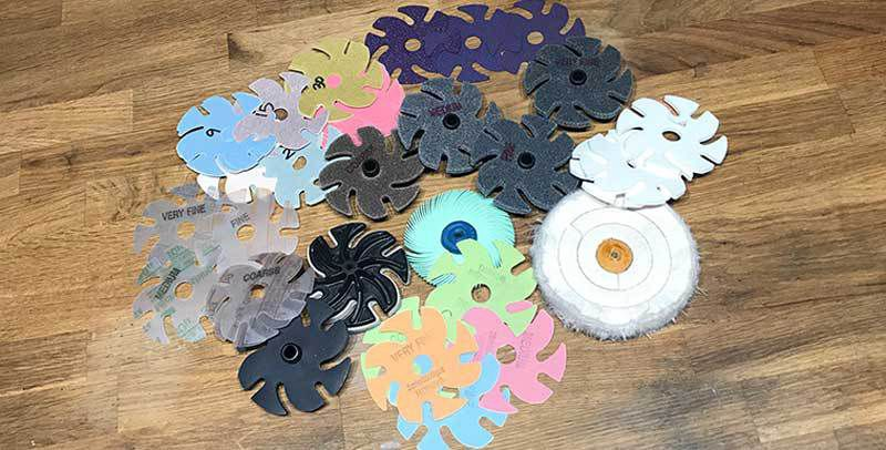 A range of abrasives made to work with the JoolTool.
