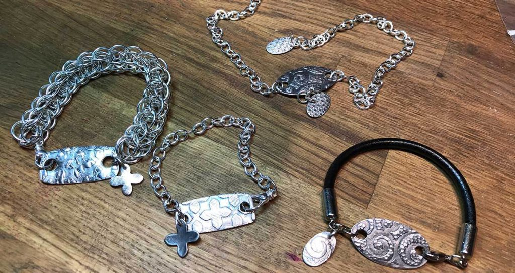 stenciled metal clay jewelry components
