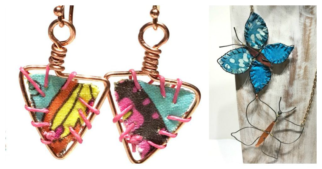 fabric and wire jewelry earrings
